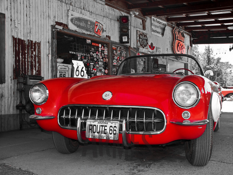 1957 Red Corvette<br /> Hackberry General Store, Hackberry, Route 66, Arizona, USA