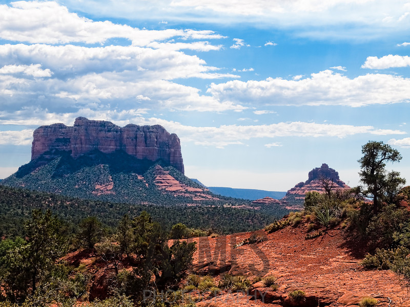 Courthouse Rock and Bell Rock from Chapel Road, Sedona, Arizona