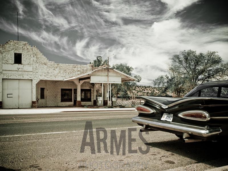 Disused gas station, Route 66, Peach Springs, Arizona, USA
