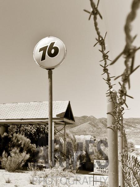 Disused gas station, Route 66, Valentine, Arizona, USA