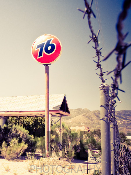 Disused gas station, Route 66, Valentine, Arizona, USA