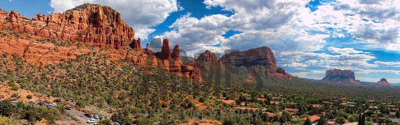 Panorama of Sedona rocks from Chapel Road, Sedona, Arizona