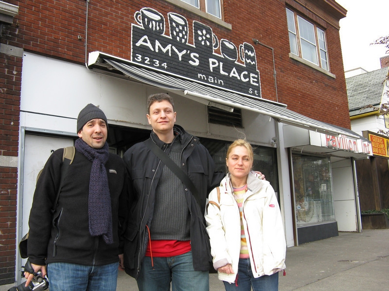 In front of Amy's Place after stuffing ourselves with pancakes.