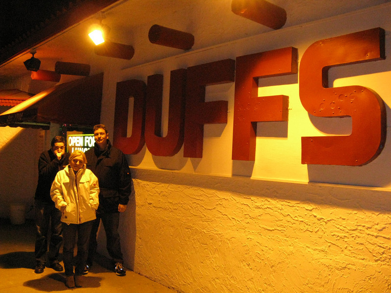 Outside Duff's after stuffing ourselves.