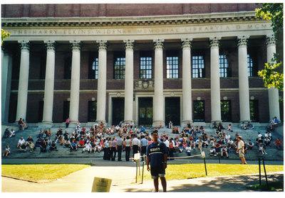 In front Widener Library in Harvard!!