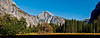 Panoramic view of Half Dome from Yosemite valley