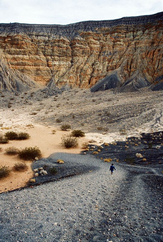 going down the Ubehebe Volcanic Crater, Death Valley