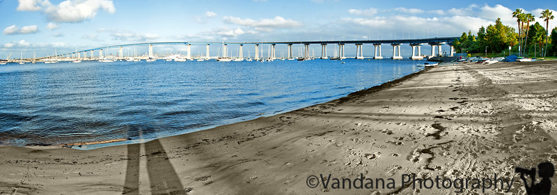 March 27, 2011 - panorama of the Coronado bay bridge, San diego