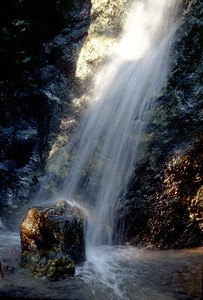 © Joseph Dougherty. All rights reserved.  Small upstream waterfall at Julia Pfeiffer Burns State Park.