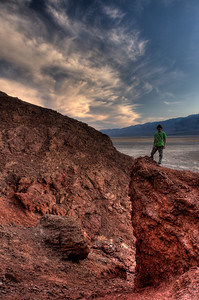 © Joseph Dougherty. All rights reserved.   Exploring the colorful rocks around Golden Canyon, at the end of the day.   Death Valley National Park.