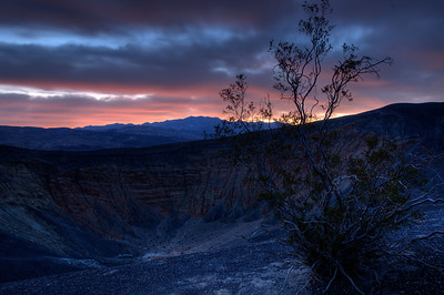 © Joseph Dougherty. All rights reserved.   Predawn light hits cloud cover above Ubehebe Crater.   Death Valley National Park.