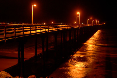 © Joseph Dougherty. All rights reserved.   Crescent City Pier at midnight.
