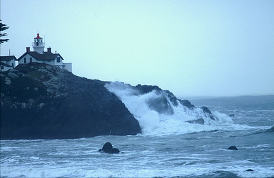 © Joseph Dougherty. All rights reserved.   Battery Point Lighthouse in Crescent City, overlooking rough seas.