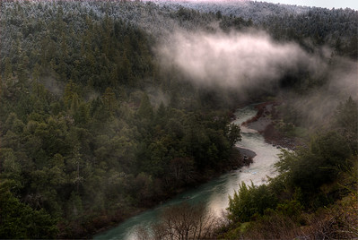 © Joseph Dougherty. All rights reserved.  Fog moves through the coastal redwoods at sunrise along the South Fork of the Eel River.