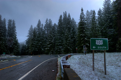 © Joseph Dougherty. All rights reserved.   Abnormally low elevation snowfall. Highway 101 dusted with snow at an elevation of only 900 feet.