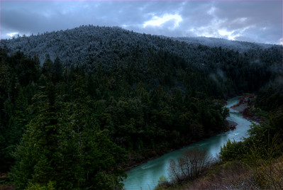 © Joseph Dougherty. All rights reserved.   South Fork of the Eel River just before sunrise, with a dusting of snow on the hilltops.