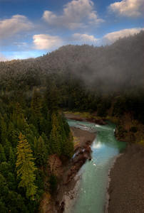 © Joseph Dougherty. All rights reserved.   Fog moves through the coastal redwoods along the South Fork of the Eel River.