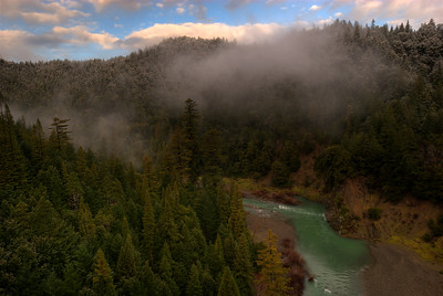 © Joseph Dougherty. All rights reserved.   Fog moves through the coastal redwoods along the South Fork of the Eel River, just after dawn.