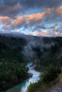 © Joseph Dougherty. All rights reserved.   South Fork of the Eel River just at sunrise, with a dusting of snow on the hilltops.