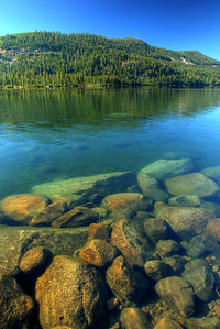 © Joseph Dougherty. All rights reserved.  Submerged rocks at Donner Lake.