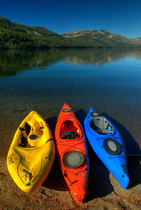 © Joseph Dougherty. All rights reserved.  Kayaks on Donner Lake.