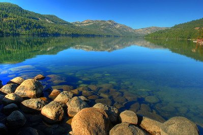 © Joseph Dougherty. All rights reserved.  Calm surface with reflections at Donner Lake.