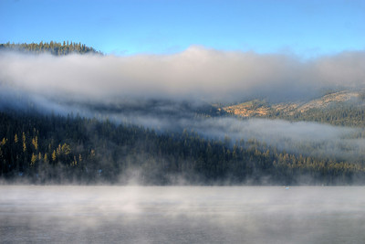 © Joseph Dougherty. All rights reserved.  Mist on Donner Lake at sunrise.