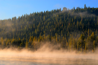 © Joseph W. Dougherty. All rights reserved.  Mist on Donner Lake at sunrise.