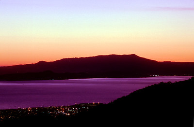 © Joseph Dougherty. All rights reserved.  Twilight over the San Francisco Bay, with Mt. Tamalpais in silouette, after sunset.
