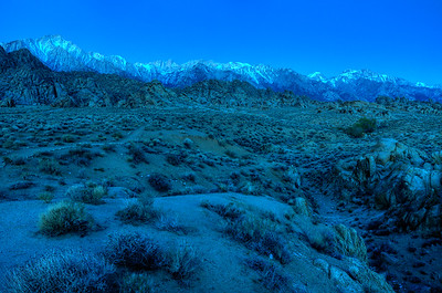 © Joseph Dougherty. All rights reserved.  Predawn light on the eastern Sierra, in the Alabama Hills.
