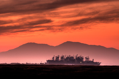 "© Joseph Dougherty. All rights reserved.   The ""Ghost Fleet"" of Liberty Ships decommissioned after World War II sits at anchor in the pre-dawn light of Suisun Bay, where the San Joaquin Delta meets the San Francisco Bay.  Mt. Diablo looks down from the background."