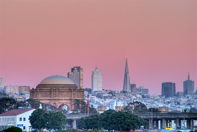 © Joseph Dougherty, All rights reserved.     San Francisco skyline with twilight glow, with Exploratorium and Transamerica Building, at dusk; San Francisco County, California.
