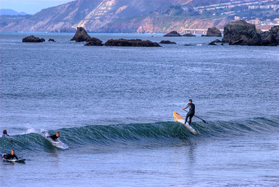 © Joseph Dougherty. All rights reserved.  Paddle-boarding on the California coast.
