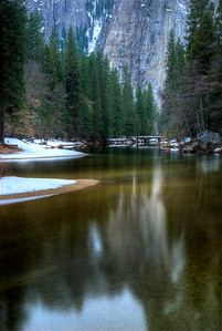 © Joseph Dougherty. All rights reserved.   Merced River peacefully winding across the floor of Yosemite Valley in late winter.