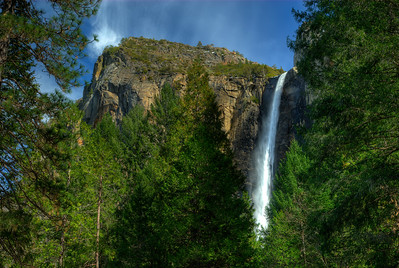 © Joseph Dougherty. All rights reserved.   Bridalveil Falls as it plunges out of the high hanging valley where Bridalveil Creek originates.