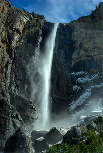 © Joseph Dougherty. All rights reserved.   Bridalveil Falls, blown by wind to create the characteristic veil for which it is named.