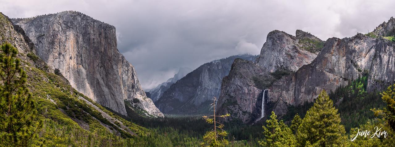 The view of Yosemite Valley. El Capitan, Half Dome, and Bridalveil Fall.