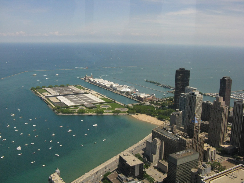 Navy Pier and Lake Michigan from the top of the Hancock Tower.