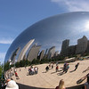 The Cloud Gate/Silver Bean sculpture.