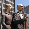 American Gothic sculpture in front of the Tribune Building.