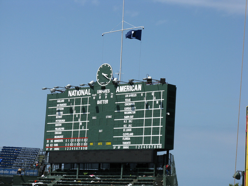 """The Cubs lost and flew the """"L"""" flag after the game."""