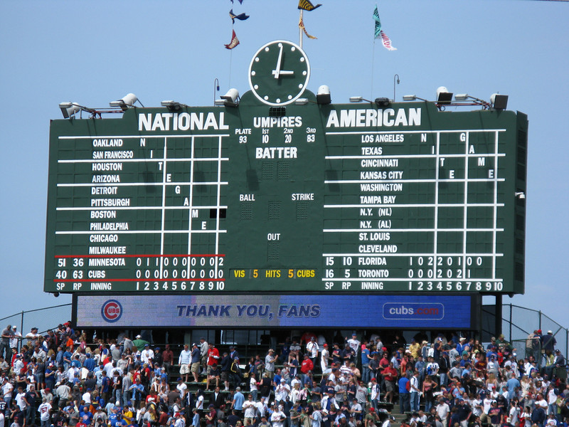 The famous manually controlled scoreboard.