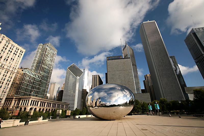 A view of the city with the Cloud Gate in the foreground.