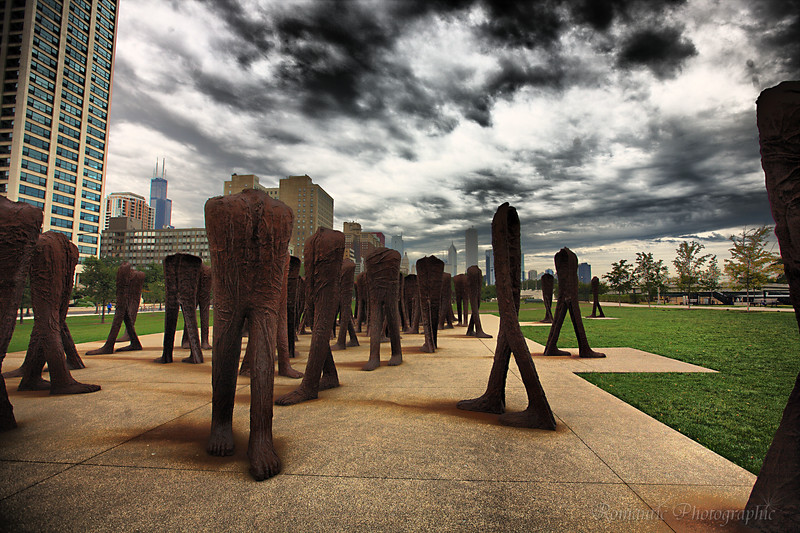 The south end of Grant Park is home to the Agora installation: 106 headless statues, each walking in a different direction.