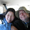 Squashed in a Subaru riding from the Mt. Goliath visitor Center to the top of the Pesman Trail. <FONT SIZE=1>© Chiyoko Meacham</FONT>