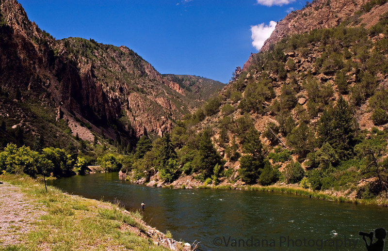 'A River runs through it' - the Gunnison River at the bottom of the Black Canyon, CO..notice tiny fisherman !