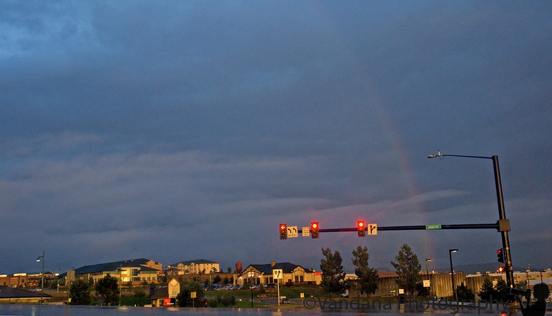 and then the rainbow over town