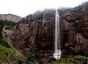 Bridal Veil Falls, Telluride, Colorado - by now, the sky is all cloudy, white, one of the last pictures before getting completely wet to the bone !