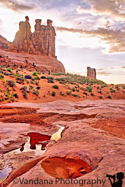 The Courthouse, Arches National Park,Utah. making use of little puddle reflections