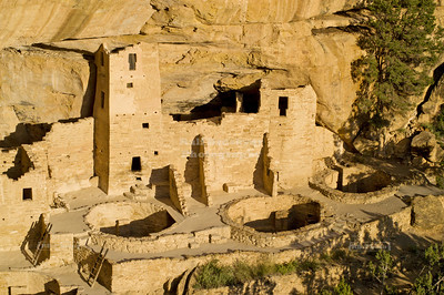 Cliff Palace in afternoon sunlight, Mesa Verde National Park, Colorado, USA
